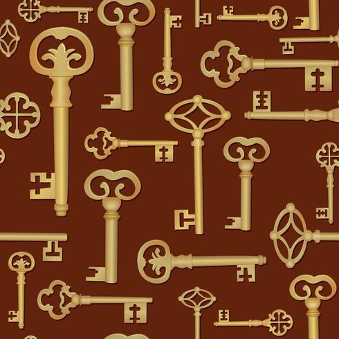 Fundo sem emenda chave do vintage. Feche o padrão da porta vetor