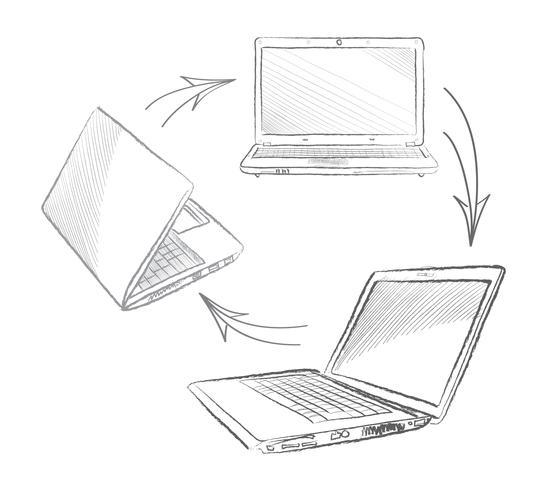 Conceito ajustado da conexão dos computadores do portátil. Sinal de colaboração social