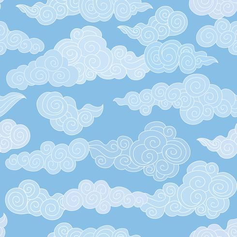 Nahtloses Muster der abstrakten Strudelwolke. Blauer himmel hintergrund
