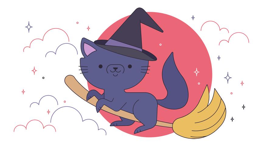 Vector del gato de la bruja