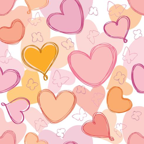 Valentinstagfeiertagsfliesenverzierung des Liebesherzgekritzels nahtlose Muster