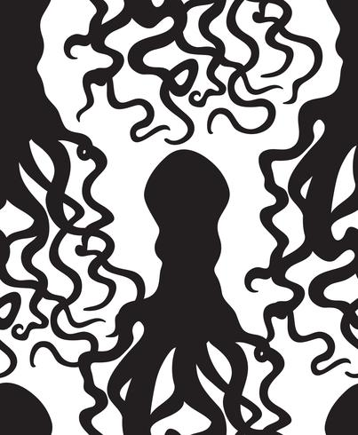 Octopus sea food seamless pattern. Ghost halloween ornament.
