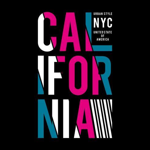 CALIFORNIA typografi design tee för t-shirt