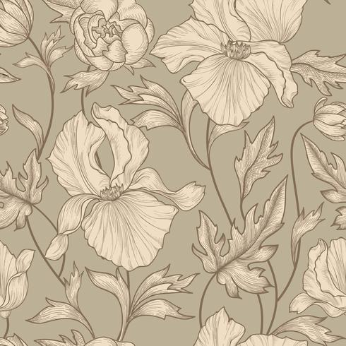 Floral seamless pattern. Flower background Engrave garden texture