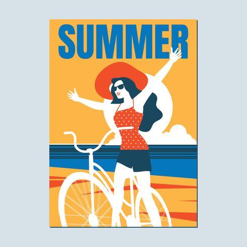 Retro affisch på en sommarstrand