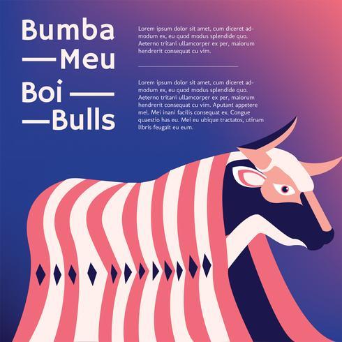 Bumba Meu Boi Bulls Vector Diseño