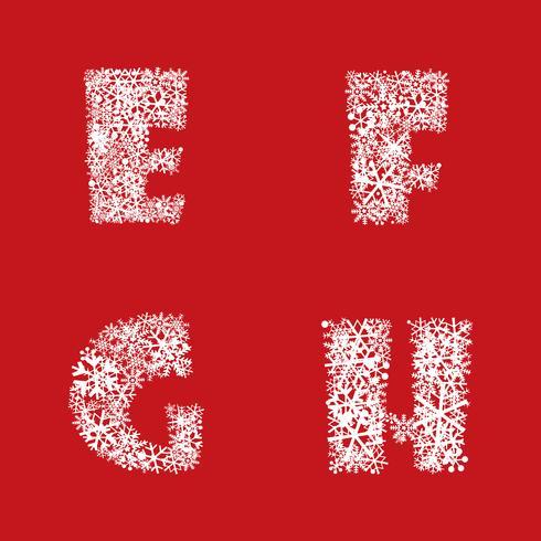 Conjunto del alfabeto Navidad invierno vacaciones decoración letras latinas caracteres