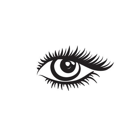 Ögonlogotyp. Ögondesign i minimalistisk grafisk stil. Make up tecken