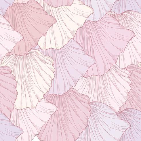 Patrón floral sin fisuras, pétalos de flores grabadas. Textura de florecer vector