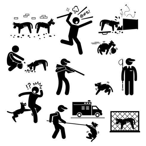 Stray Dog Problem Issue Stick Figure Ícones Do Pictograma.