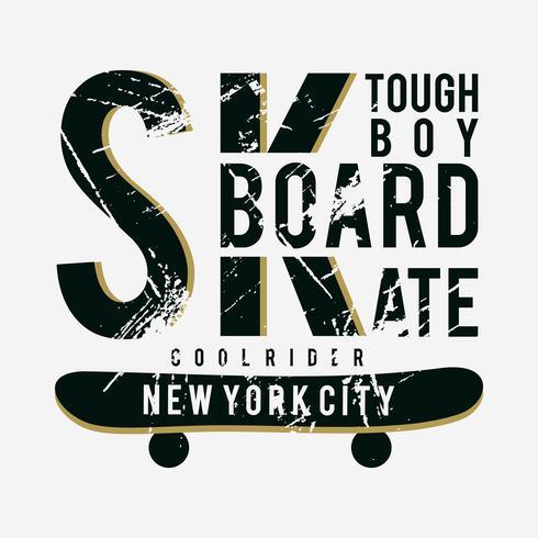 t-shirt di design tipografia SK da skateboard