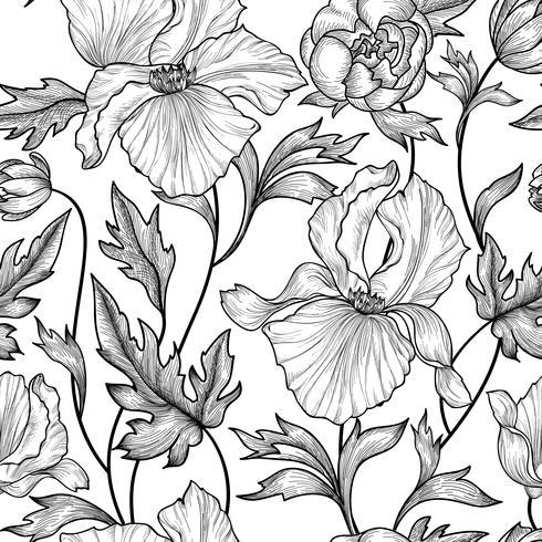 Naadloze bloemmotief. Bloem achtergrond Graveer tuin textuur