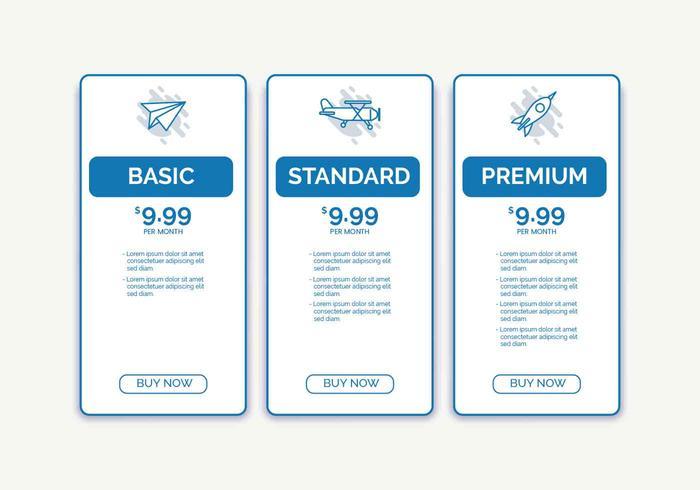 Tabla de precios ilustración vectorial