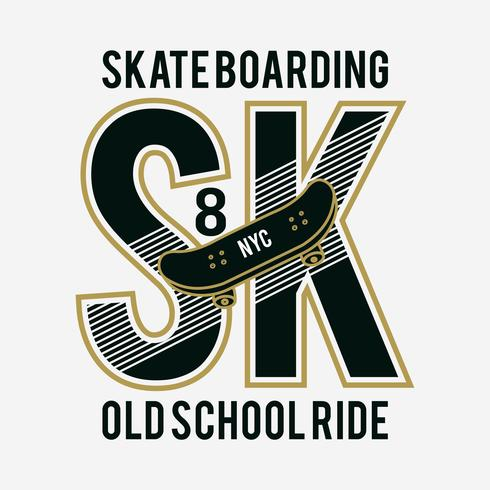 Tipografia de esporte de skate, gráficos de t-shirt, vetores