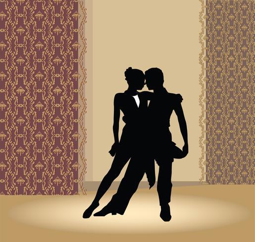 Cartel del club de baile. Pareja de baile. Hermosas bailarinas realizan tango.