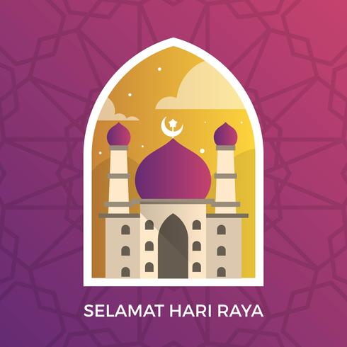 Selamat moderno Hari Raya Eid Mubarak Saudações vetor