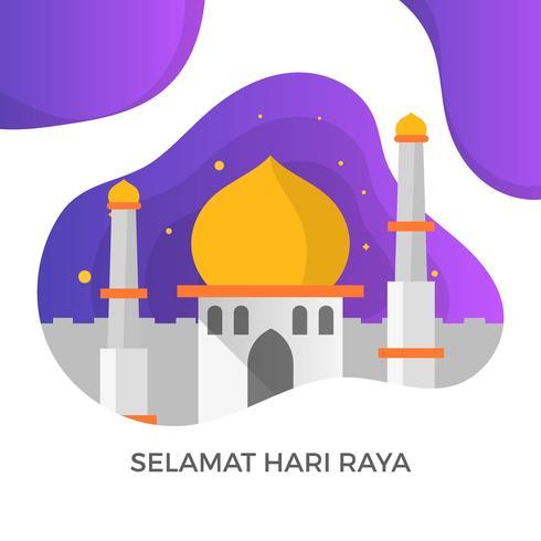 Illustrazione semplice moderna di vettore di Saluti di Selamat Hari Raya Eid Mubarak