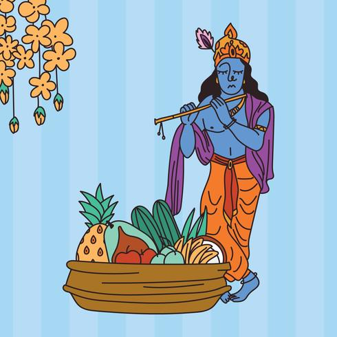 Mat för Vishu tillsammans med Krishna