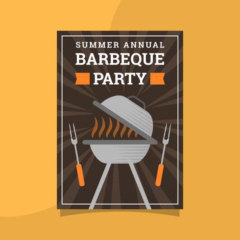 Flat Retro BBQ Poster Vector Template