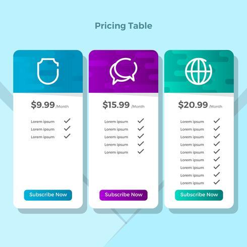 Tabla de precios minimalista plana