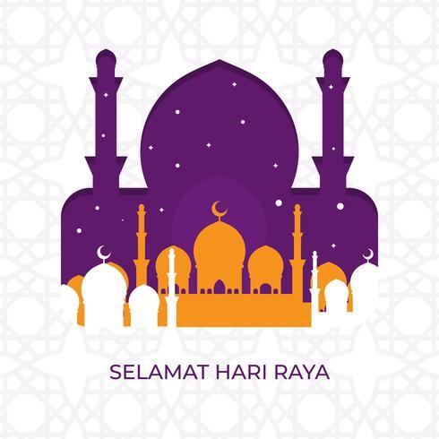 Flat Modern Selamat Hari Raya Eid Mubarak Greetings Vector Illustration
