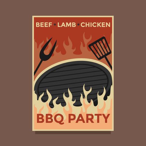 retro bbq party affisch vektor