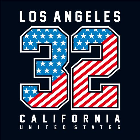 Los Angeles, Californie, typographie avec numéro de drapeau américain. Pour t-shirt imprimé et autres utilisations.
