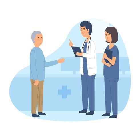 Gesundheitspflege-Charaktere mit altem Patienten.