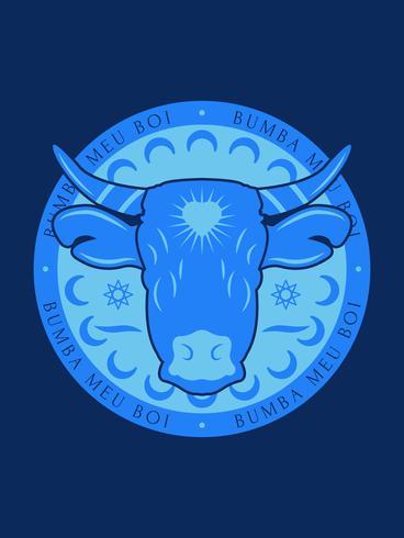 Blue Bumba Meu Boi Bull Badge with Dark Background vector