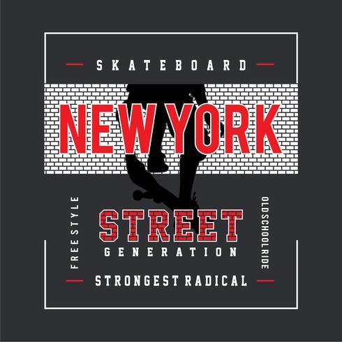 Skateboard typografie, tee shirt graphics