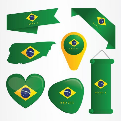 Brazil Flag Clipart Vector Pack