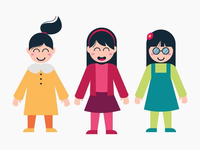 Vrouwelijke kinderen karakter Cartoon Set