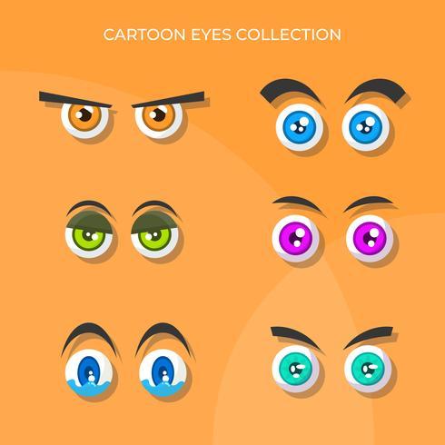 Flat Cute Cartoon Eyes Vector-collectie