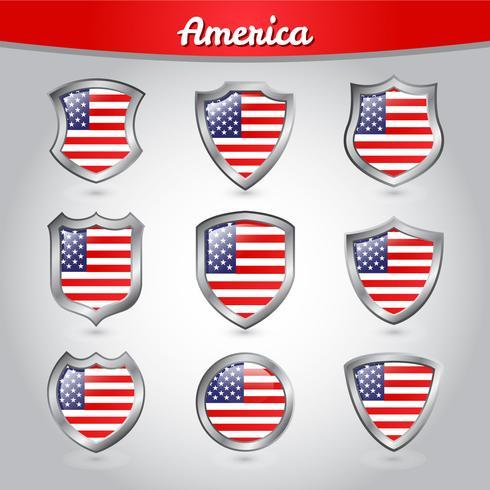 USA Shield Flag Vector