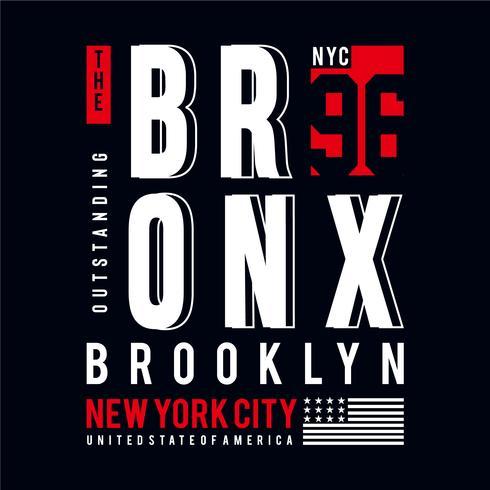 Bronx nyc typografi tee design för t-shirt