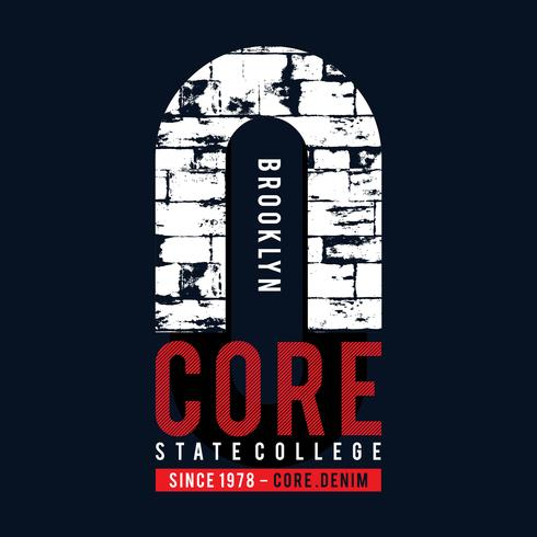 Design vector typography core denim for t shirt