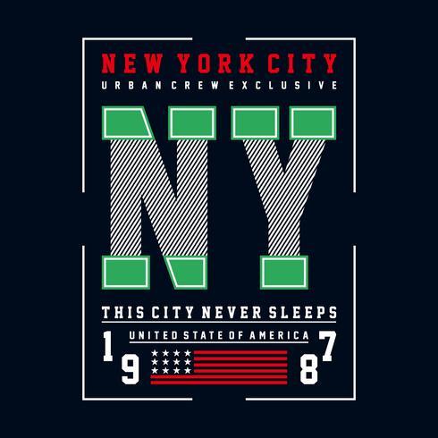 conception de typographie new york city, pour t-shirt
