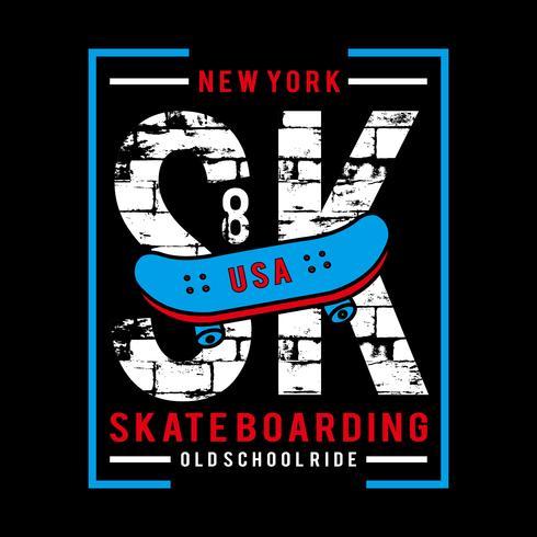 illustrazione vettoriale di t-shirt design tipografia skater