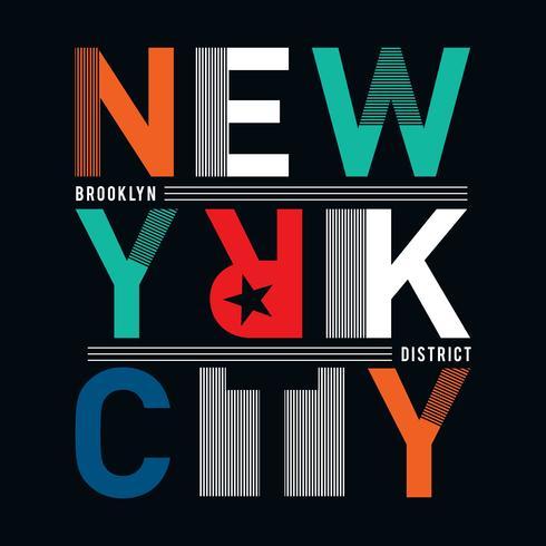 t-skjorta grafik, utslagsplatsdesign. New York City Slogan Vector Art Mall