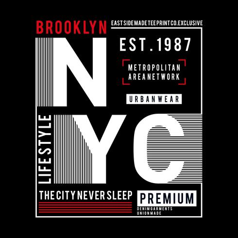 Tipografia Design New York City, Grafica t-shirt,