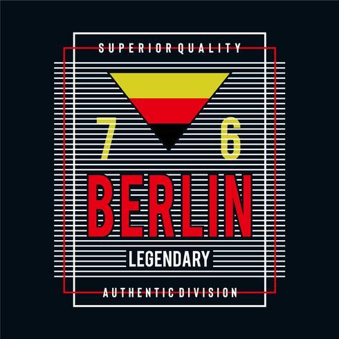 camiseta legendaria del diseño de la tipografía de la ciudad de Berlín para la camiseta