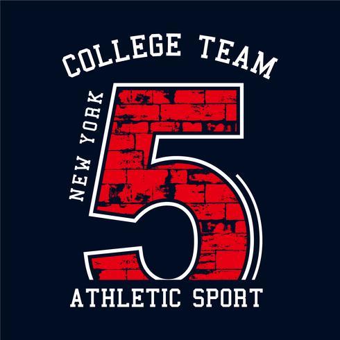 College-Vektor-Label und Print-Design für T-Shirt