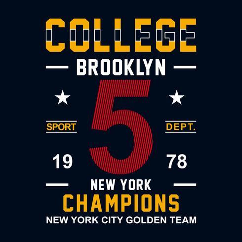 New York Brooklyn Sport slijtage typografie embleem, t-shirt stempel afbeeldingen