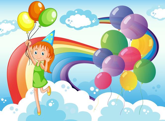 Una joven en el cielo con globos y arcoiris.