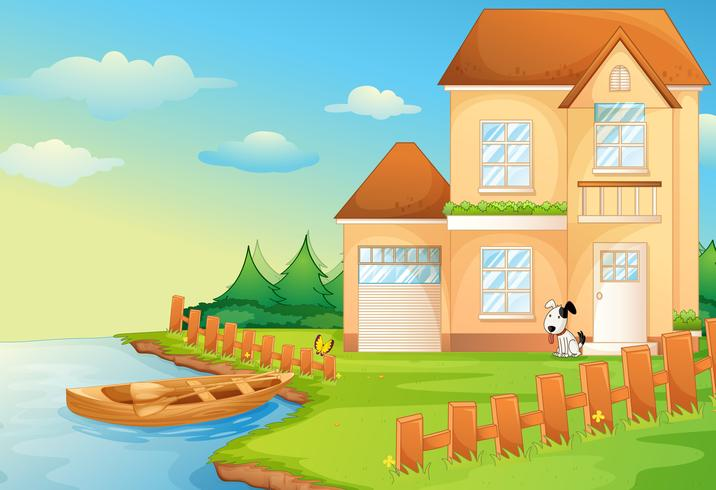 Homes by the Lake Clip Art