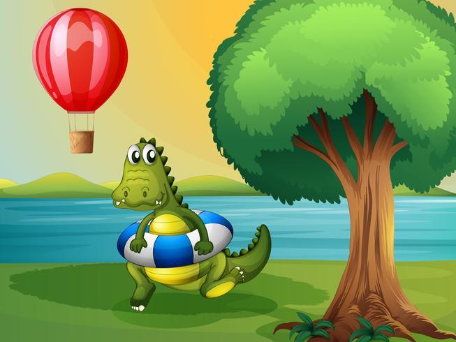 Un coccodrillo all'interno della boa lungo il fiume