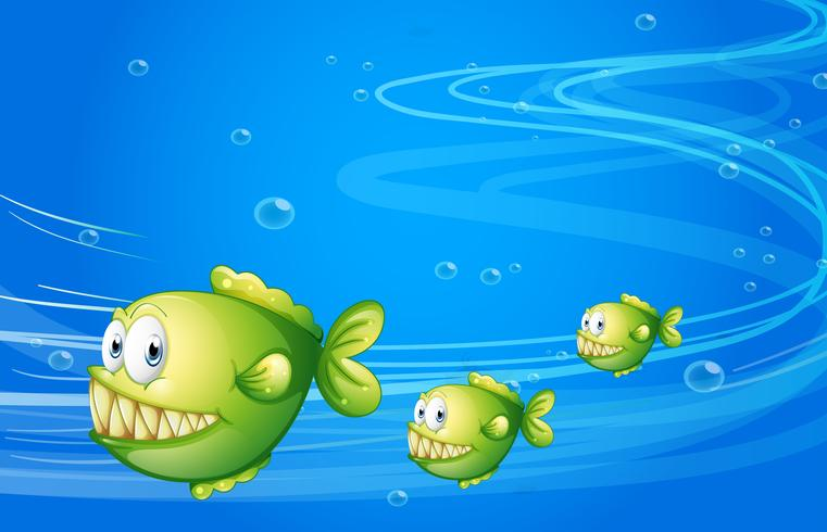 Three green piranhas under the sea