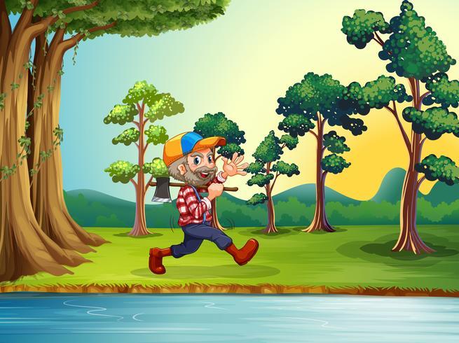 Een gelukkige houthakker die bij de rivieroever loopt