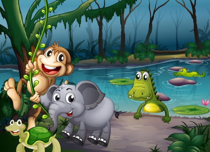 Djur som leker i skogen nära dammen med krokodiler