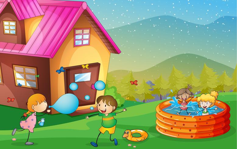 ett hus och barn